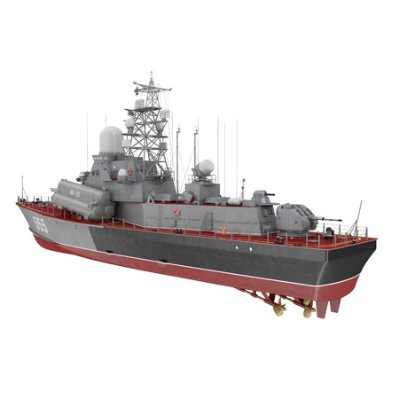 corvette: Missile Corvettes of the Soviet Navy Nanuchka class Project 1234 on white. 3D illustration Stock Photo
