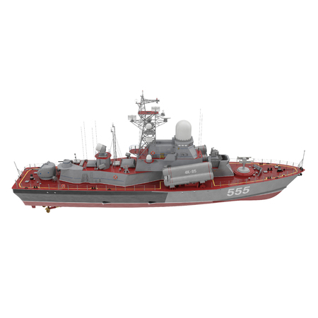 Missile Corvettes of the Soviet Navy Nanuchka class Project 1234 on white. Side view. 3D illustration
