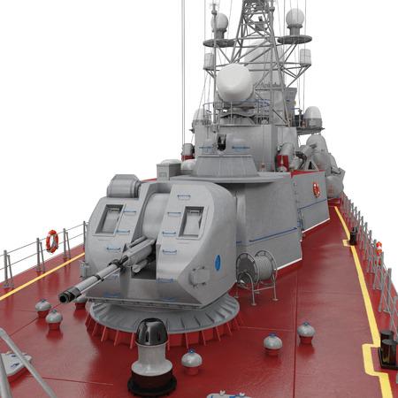 corvette: Missile Corvettes ship gun on white. 3D illustration Stock Photo