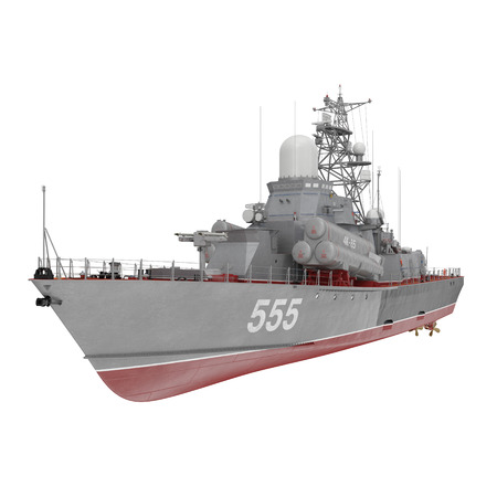 Missile Corvettes of the Soviet Navy Nanuchka class Project 1234 on white. 3D illustration Stock Photo