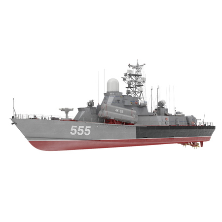 Missile Corvettes of the Soviet Navy Nanuchka class Project 1234 on white. 3D illustration Banco de Imagens