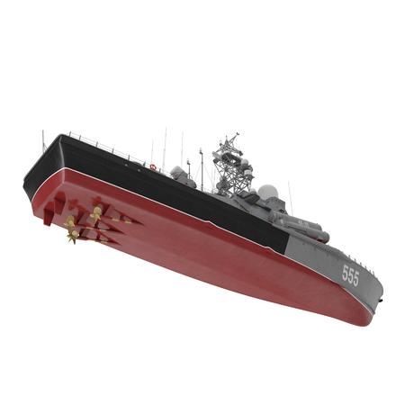 battleship: Missile Corvettes of the Soviet Navy Nanuchka class Project 1234 on white. 3D illustration Stock Photo