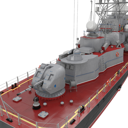 battleship: Missile Corvettes ship gun on white. 3D illustration Stock Photo