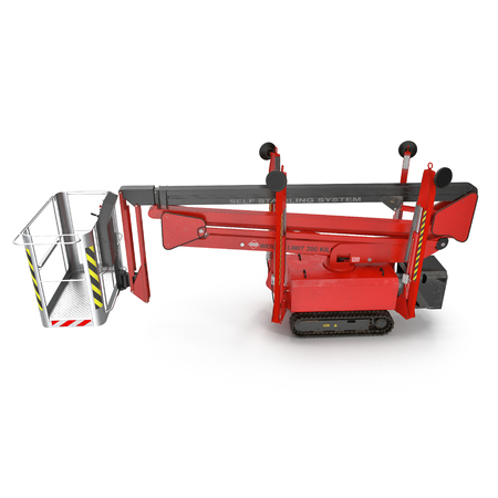 Mobile aerial work platform - Red scissor hydraulic self propelled lift on a white background. Side view. 3D illustration