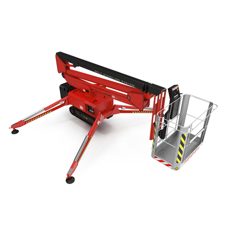 Mobile aerial work platform - Red scissor hydraulic self propelled lift on a white background. 3D illustration Stock Photo