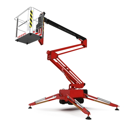 Engine Powered Scissor Lift on white background. 3D illustration