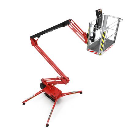 large red extended scissor lift platform on white. 3D illustration Stock Photo
