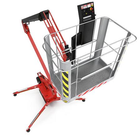 large red extended scissor lift platform on white. 3D illustration Banco de Imagens