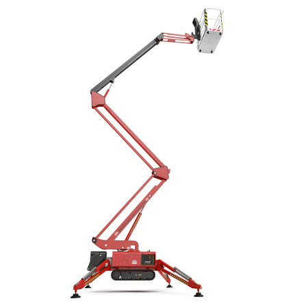 Mobile aerial work platform - Red scissor hydraulic self propelled lift on a white. Side view. 3D illustration
