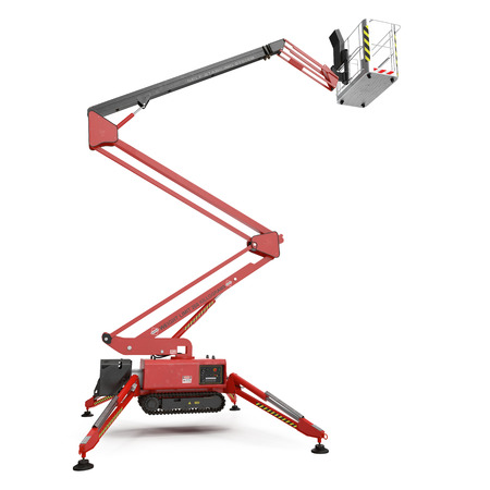 large red extended scissor lift platform on white background. 3D illustration Stock Photo