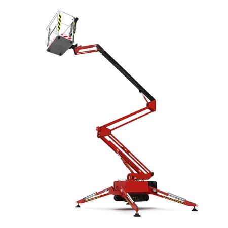 large red extended scissor lift platform on white background. 3D illustration Stock Photo