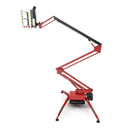 hydraulic lift: large red extended scissor lift platform on white background. 3D illustration Stock Photo