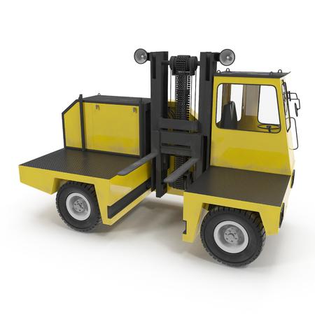 Side Loader Truck isolated on white background. 3D Illustration