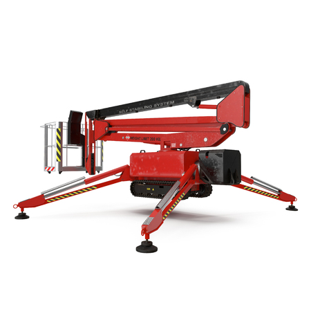 Mobile aerial work platform - Red scissor hydraulic self propelled lift on a white background. 3D illustration Banco de Imagens