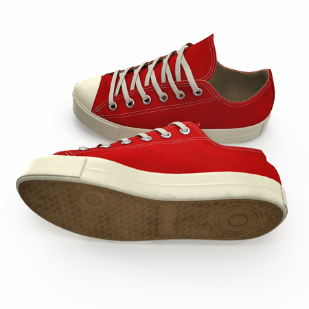 Convenient for sports mens sneakers in red fabric. Presented on a white. 3D illustration