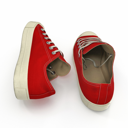 Red sneakers isolated on white. 3D illustration Stock Photo