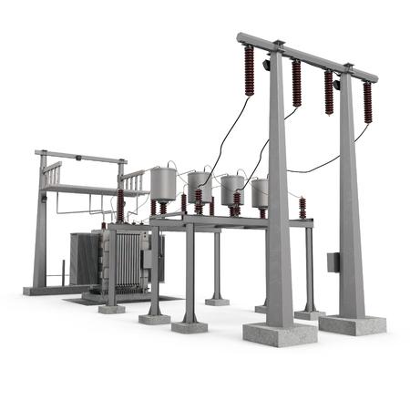 High voltage electric power substation on white. 3D illustration Stock Illustration - 78400689