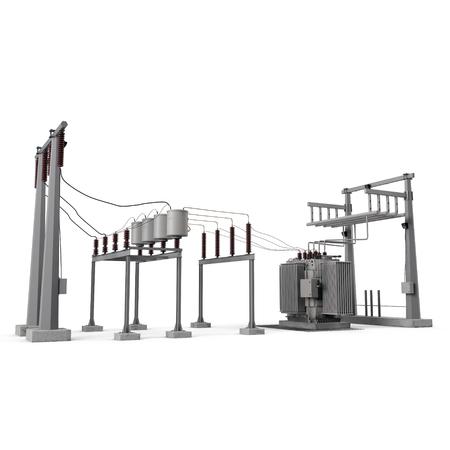 High voltage electric power substation on white. 3D illustration Stock Illustration - 78407483