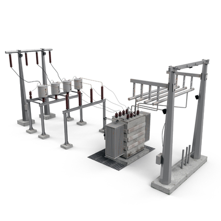 Electric power equipment in a substation on white. 3D illustration Archivio Fotografico