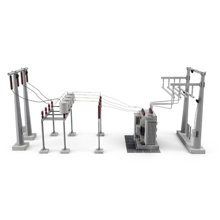 Electric power equipment in a substation on white. Side view. 3D illustration