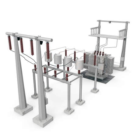 Electric power equipment in a substation on white. 3D illustration Stock Photo