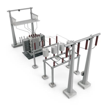Elektrische Stromversorgung in einer Unterstation auf Weiß. 3D Abbildung Standard-Bild