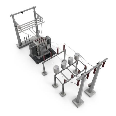 Apparecchiature elettriche in una sottostazione su bianco. Illustrazione 3D Archivio Fotografico - 78407488