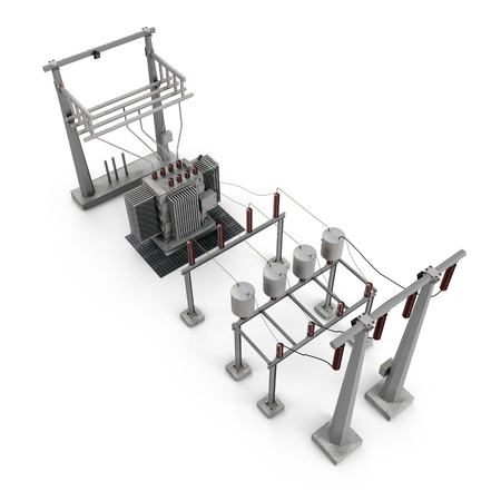 Electric power equipment in a substation on white. 3D illustration Imagens