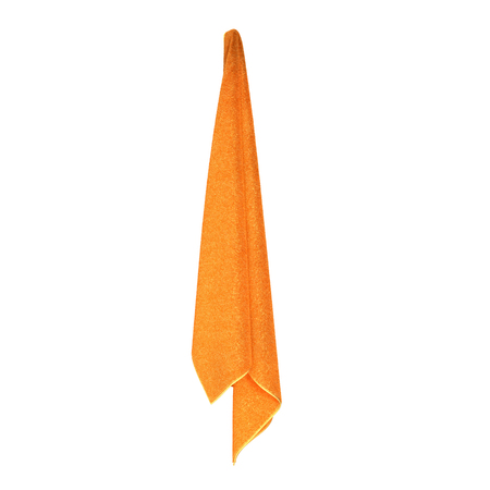 Hanging Bathroom yellow Towel on white background. 3D illustration Stock Photo