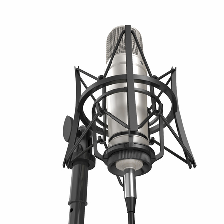 Classic Studio Microphone on white background. 3D illustration