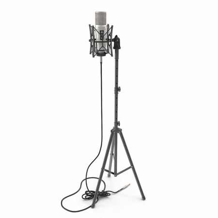 A condenser microphone with stand isolated on white background. 3D illustration