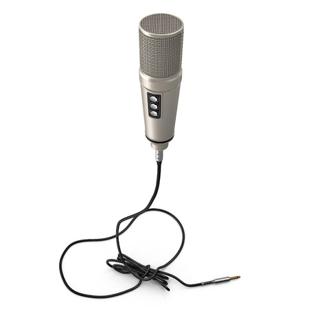 Classic Studio Microphone on white. 3D illustration