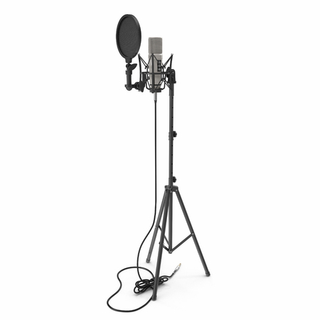 A condenser microphone with stand isolated on white. 3D illustration