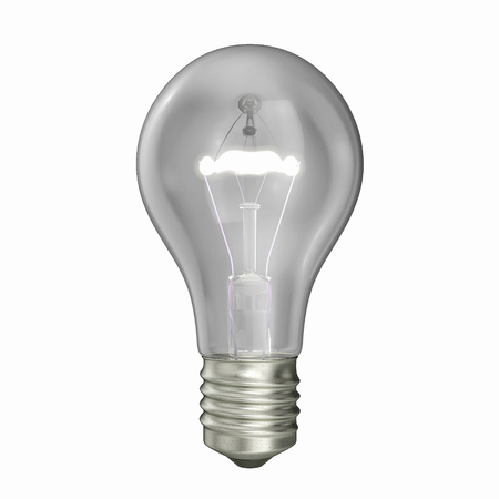 Glowing light bulb isolated on white. 3D illustration Stock Photo