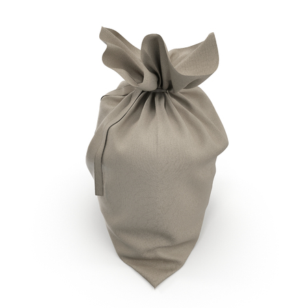 money sack: Canvas sack with empty space on white. 3D illustration