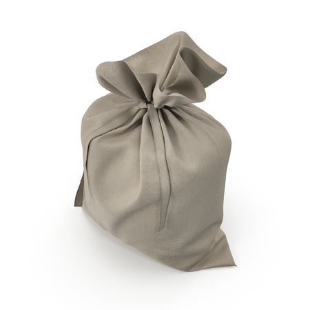 Canvas sack with empty space on white. 3D illustration