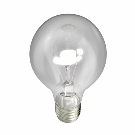 edison: Glowing light bulb isolated on white. 3D illustration Stock Photo