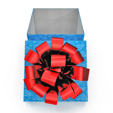 Present box with red overwhelming bow on white. Front view. 3D illustration