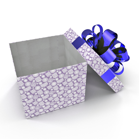 Present box with overwhelming bow on white. 3D illustration