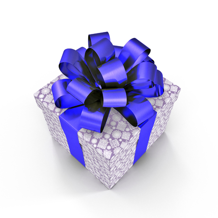 Present box with overwhelming bow isolated on white background. 3D illustration
