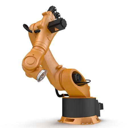 automate: Robot arm for industry isolated on white. 3D Illustration