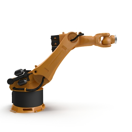 machining: Industrial Robotic Arm isolated on white. 3D illustration Stock Photo