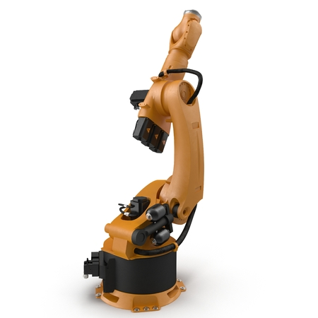 machining: Orange robot arm for industry isolated on white. 3D Illustration