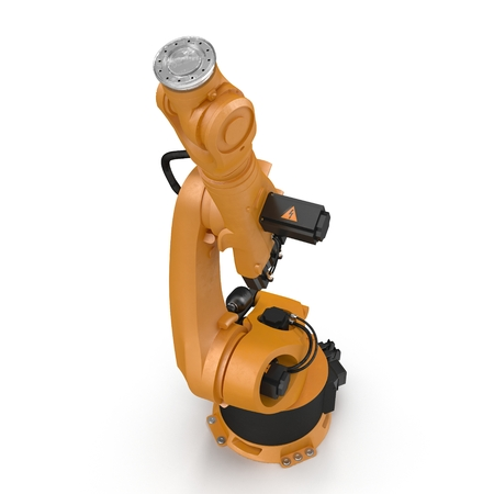 automate: Orange robot arm for industry isolated on white. 3D Illustration