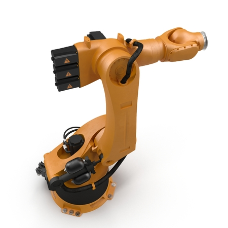 robotic hand machine tool isolated on white. 3D illustration