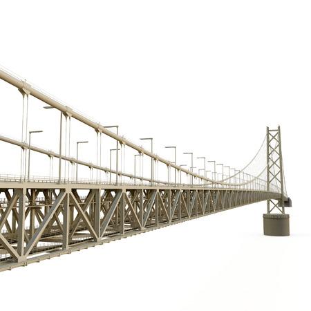 longest: Akashi Kaiky Bridge on white background. 3D illustration Stock Photo