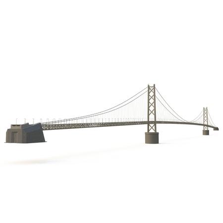 kobe: Akashi Kaiky Bridge on white background. 3D illustration Stock Photo