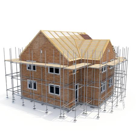Nieuw huis wordt gebouwd met bakstenen op wit. 3D illustratie