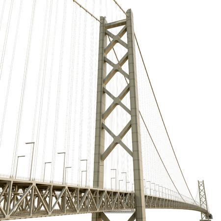 longest: Akashi Kaiky Bridge on white. 3D illustration