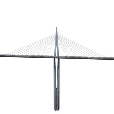 millau: Millau Viaduct Bridge on white. 3D illustration